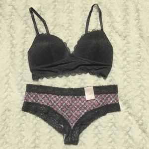 Candie's Geo Lace Push- Up Bralette Cheeky Panty